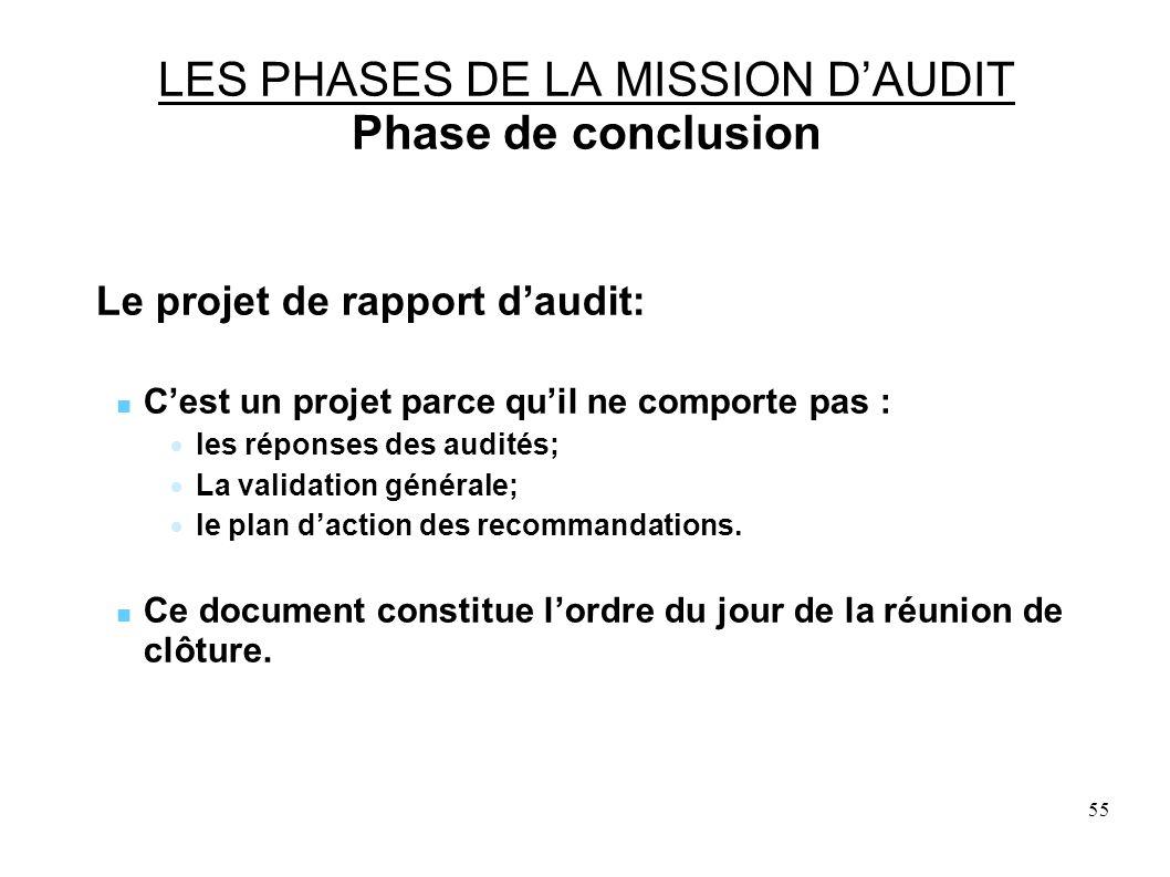 55 LES PHASES DE LA MISSION DAUDIT Phase de conclusion Le projet de rapport daudit: Cest un projet parce quil ne comporte pas : les réponses des audités; La validation générale; le plan daction des recommandations.