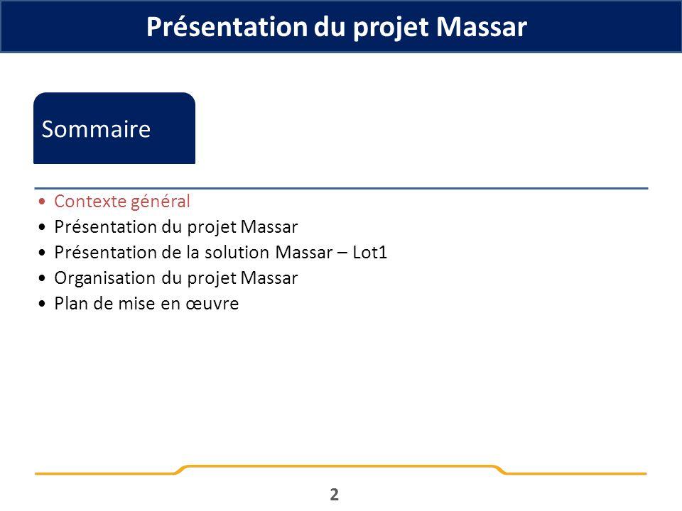 Présentation du projet Massar 2 Sommaire Contexte général Présentation du projet Massar Présentation de la solution Massar – Lot1 Organisation du proj