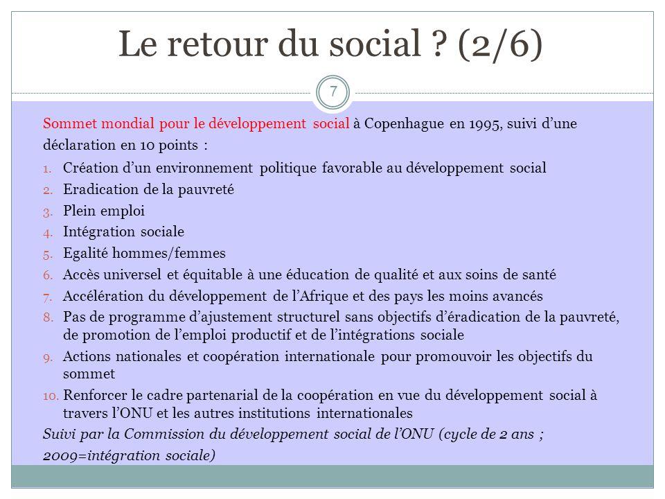 Le retour du social : le rôle des ONG .