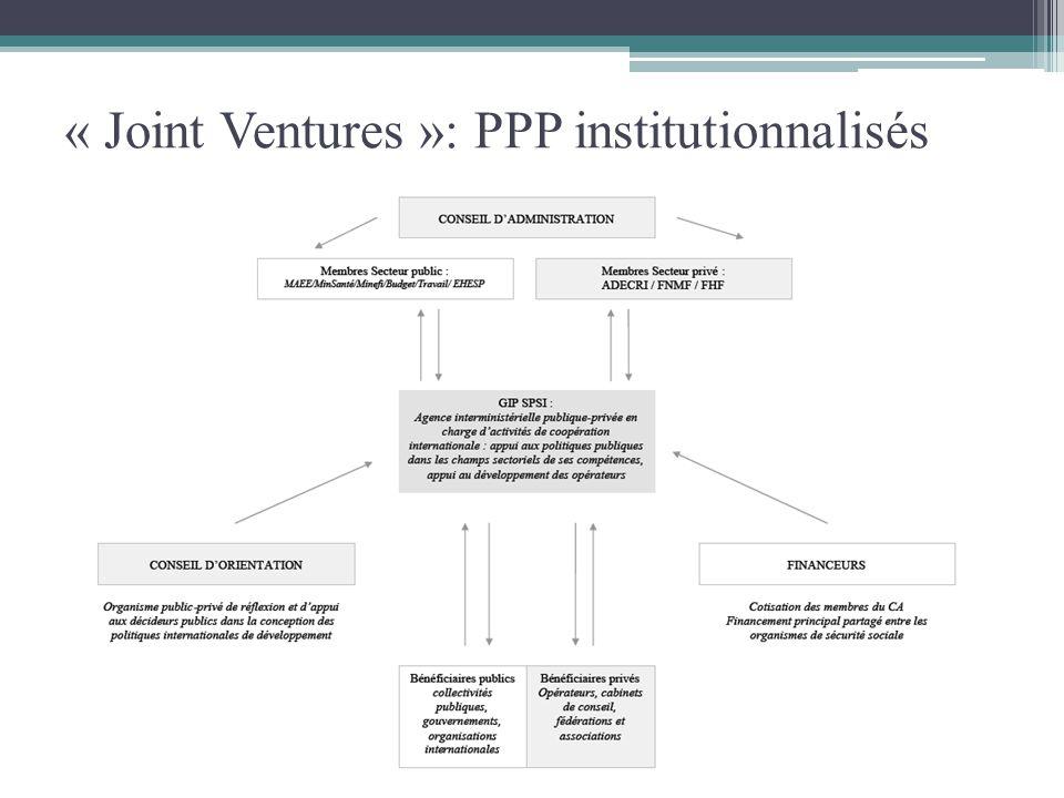 « Joint Ventures »: PPP institutionnalisés