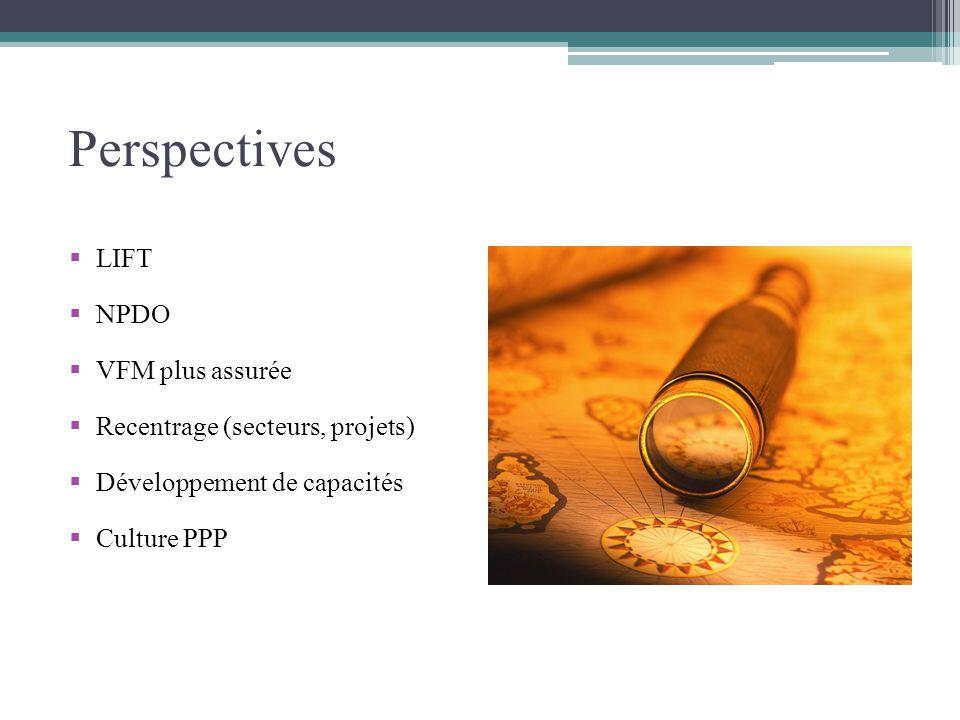 Perspectives LIFT NPDO VFM plus assurée Recentrage (secteurs, projets) Développement de capacités Culture PPP