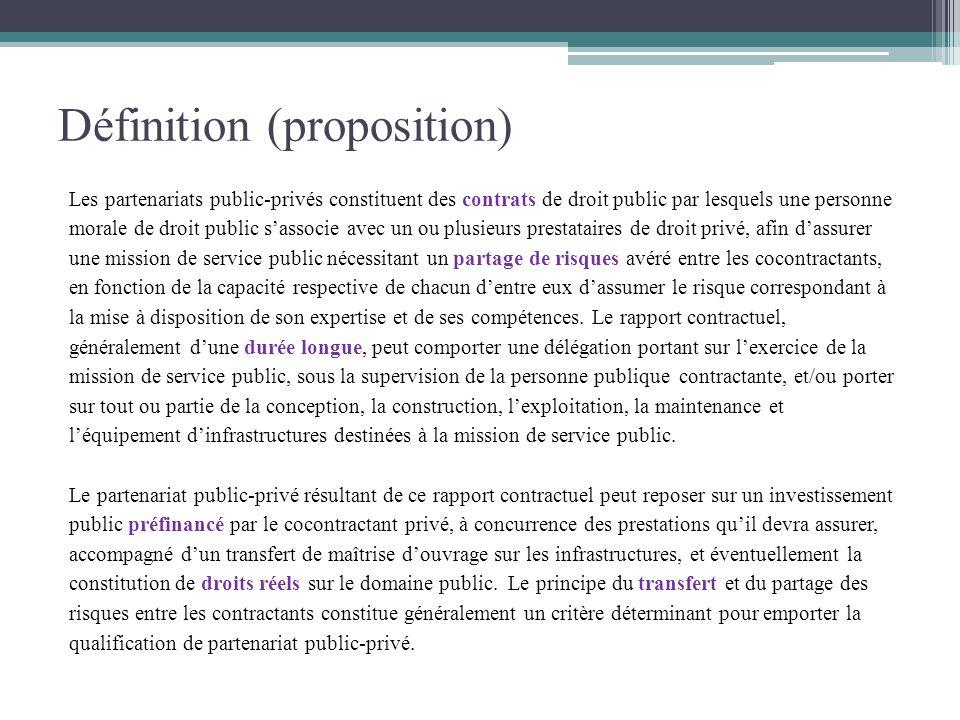 Définition (proposition) Les partenariats public-privés constituent des contrats de droit public par lesquels une personne morale de droit public sass