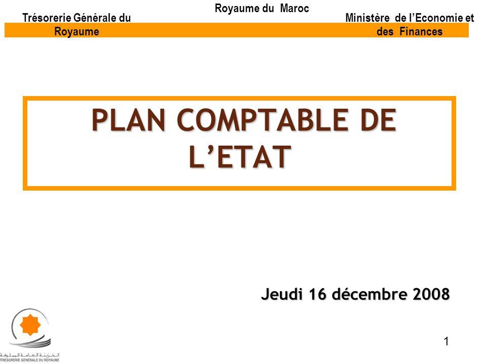 PLAN COMPTABLE DE LETAT PLAN COMPTABLE DE LETAT Jeudi 16 décembre 2008 Trésorerie Générale du Royaume Royaume du Maroc Ministère de lEconomie et des F