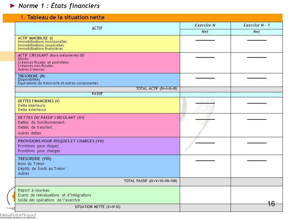 1. Tableau de la situation nette ACTIF Exercice NExercice N - 1 Net ACTIF IMMOBILISE (I) Immobilisations incorporelles Immobilisations corporelles Imm