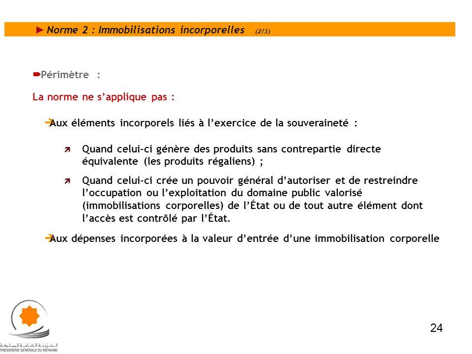 Norme 2 : Immobilisations incorporelles (2/3) Périmètre : La norme ne sapplique pas : Aux éléments incorporels liés à lexercice de la souveraineté : Q
