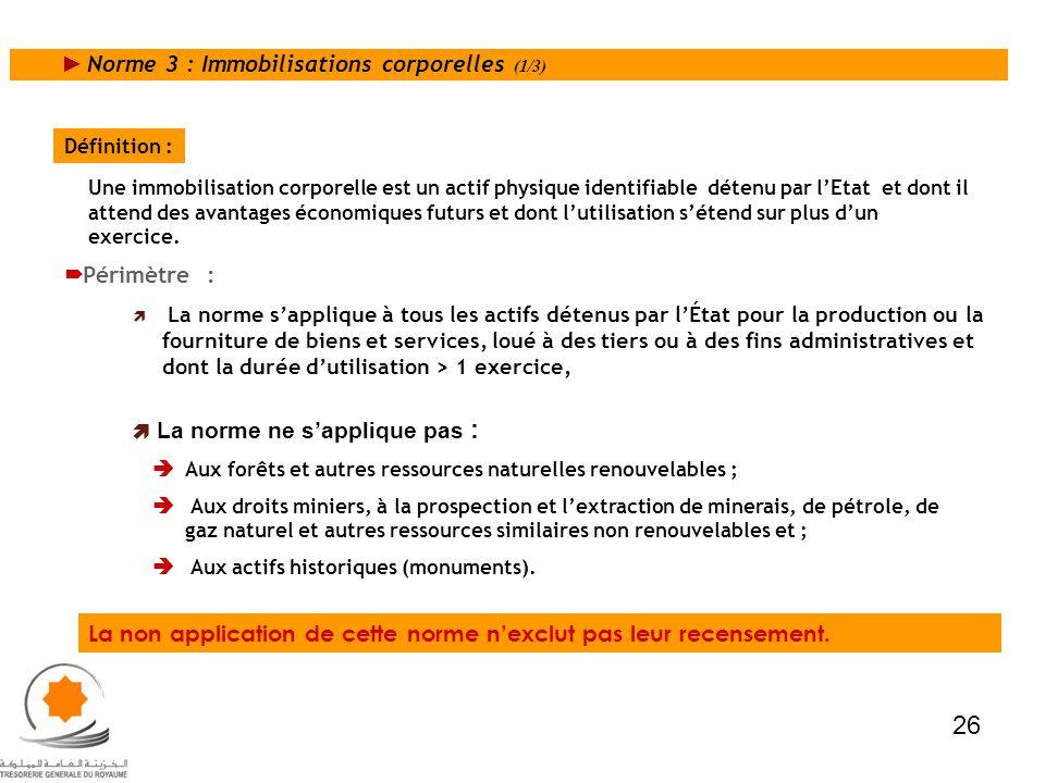 Norme 3 : Immobilisations corporelles (1/3) La norme sapplique à tous les actifs détenus par lÉtat pour la production ou la fourniture de biens et ser