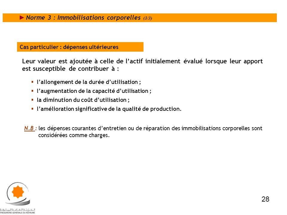 Norme 3 : Immobilisations corporelles (3/3) Cas particulier : dépenses ultérieures Leur valeur est ajoutée à celle de lactif initialement évalué lorsq