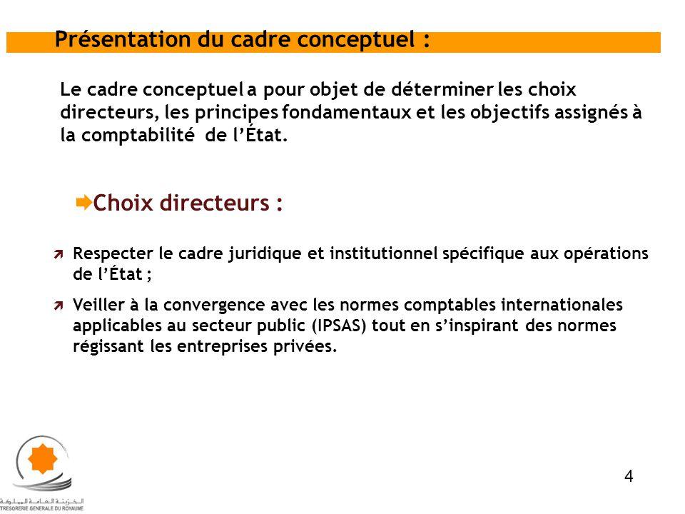 Le cadre conceptuel a pour objet de déterminer les choix directeurs, les principes fondamentaux et les objectifs assignés à la comptabilité de lÉtat.