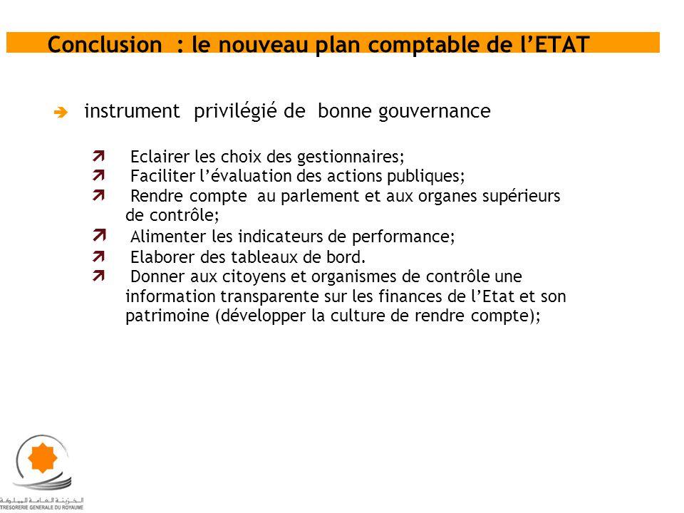 Conclusion : le nouveau plan comptable de lETAT instrument privilégié de bonne gouvernance Eclairer les choix des gestionnaires; Faciliter lévaluation