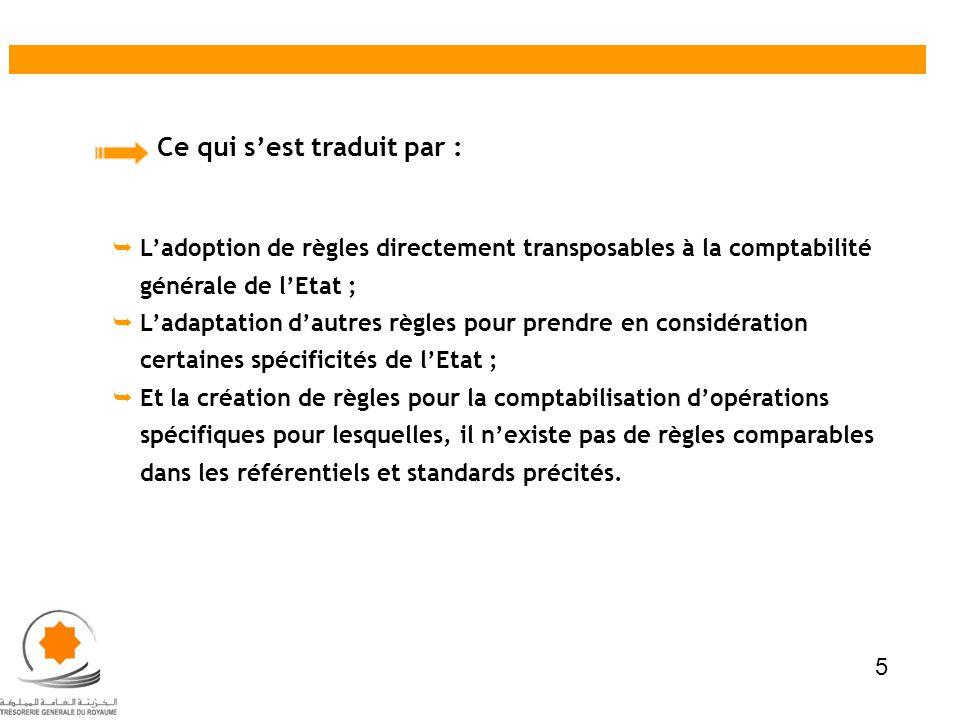 Ce qui sest traduit par : Ladoption de règles directement transposables à la comptabilité générale de lEtat ; Ladaptation dautres règles pour prendre