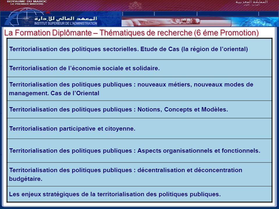 Bilan - Perspectives La Formation Diplômante – Thématiques de recherche (6 éme Promotion) Territorialisation des politiques sectorielles. Etude de Cas