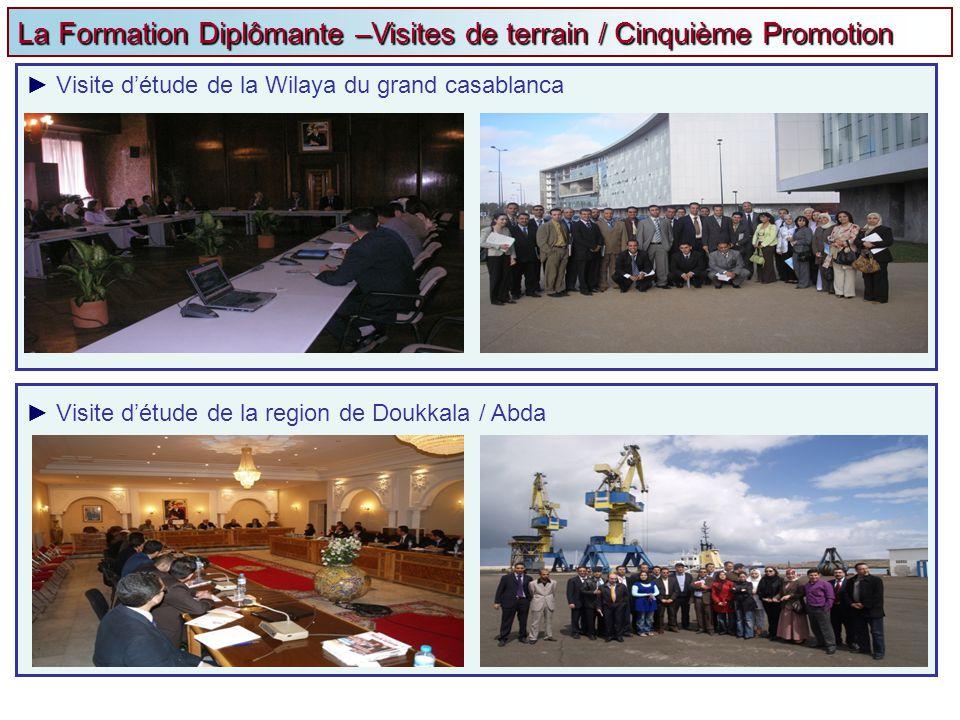 La Formation Diplômante –Visites de terrain / Cinquième Promotion Visite détude de la Wilaya du grand casablanca Visite détude de la region de Doukkal