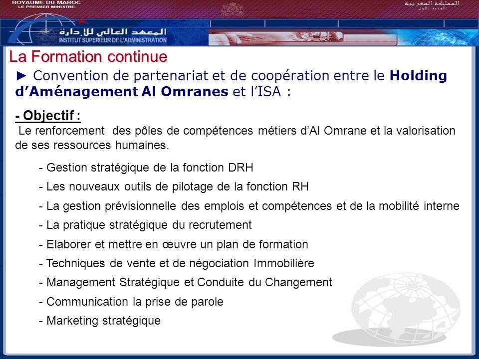 Bilan - Perspectives La Formation continue Convention de partenariat et de coopération entre le Holding dAménagement Al Omranes et lISA : - Objectif :