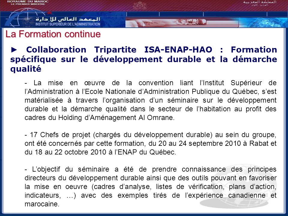Bilan - Perspectives Collaboration Tripartite ISA-ENAP-HAO : Formation spécifique sur le développement durable et la démarche qualité - La mise en œuv