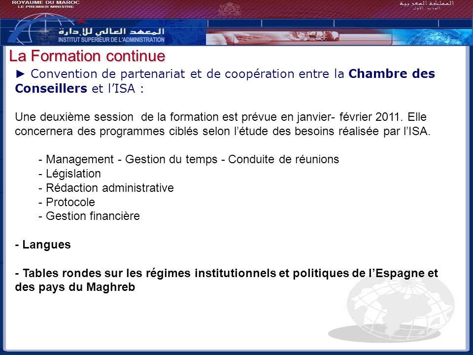 Bilan - Perspectives Convention de partenariat et de coopération entre la Chambre des Conseillers et lISA : Une deuxième session de la formation est p