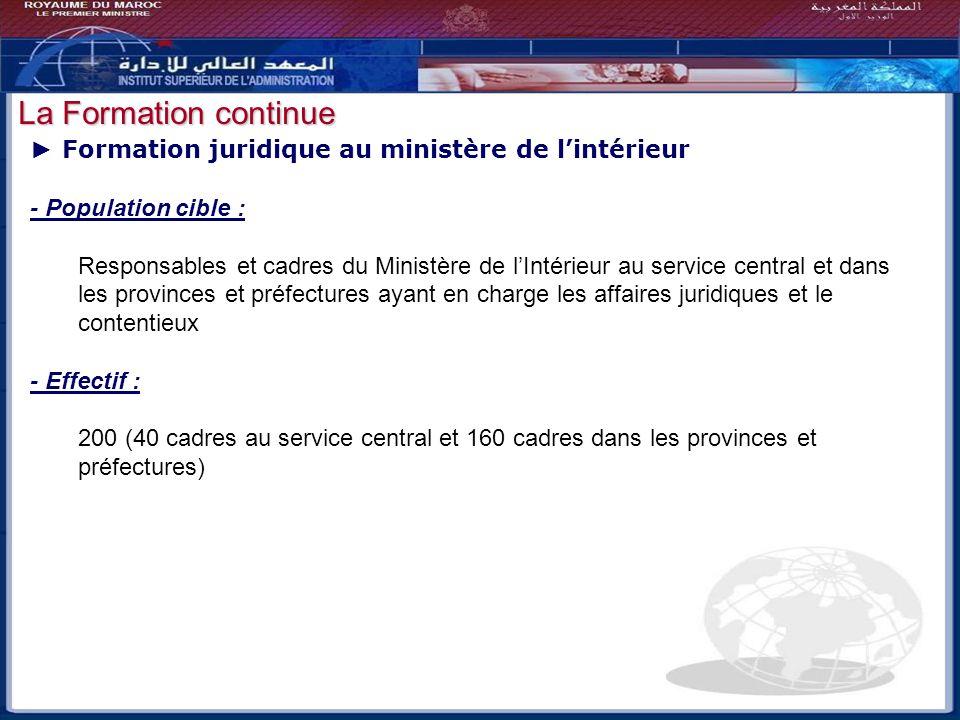 Bilan - Perspectives Formation juridique au ministère de lintérieur - Population cible : Responsables et cadres du Ministère de lIntérieur au service