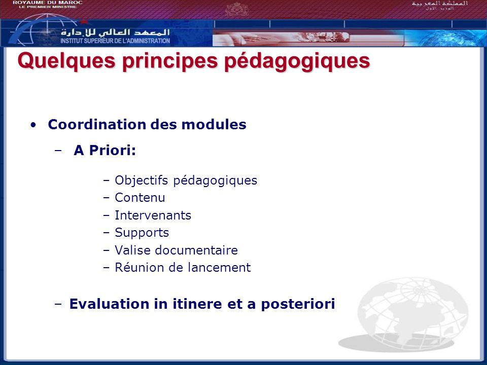 Coordination des modules – A Priori: –Objectifs pédagogiques –Contenu –Intervenants –Supports –Valise documentaire –Réunion de lancement –Evaluation i