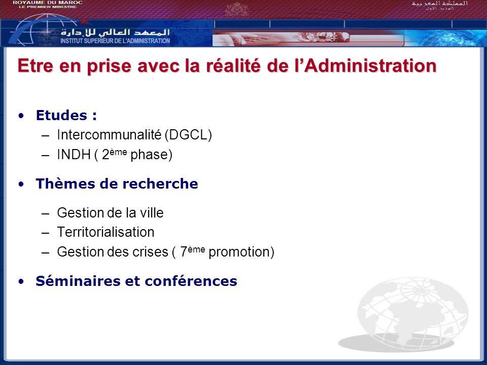 Etre en prise avec la réalité de lAdministration Etudes : –Intercommunalité (DGCL) –INDH ( 2 ème phase) Thèmes de recherche –Gestion de la ville –Terr