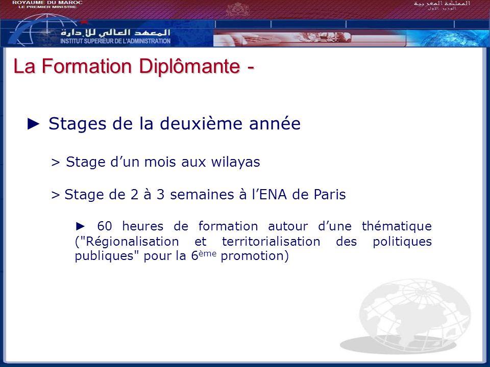 Bilan - Perspectives Stages de la deuxième année > Stage dun mois aux wilayas > Stage de 2 à 3 semaines à lENA de Paris 60 heures de formation autour