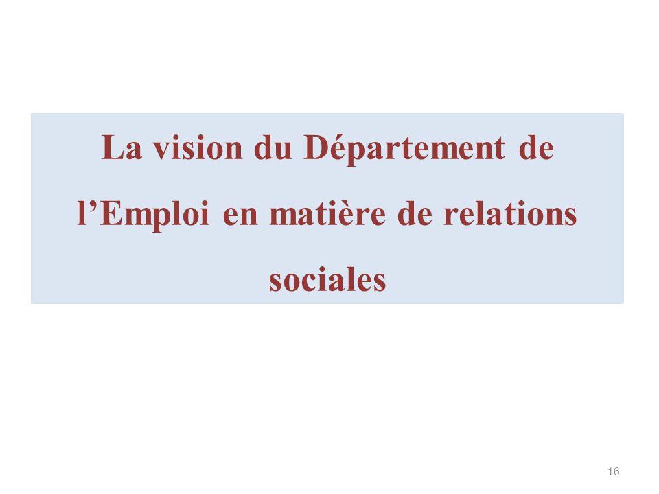 La vision du Département de lEmploi en matière de relations sociales 16