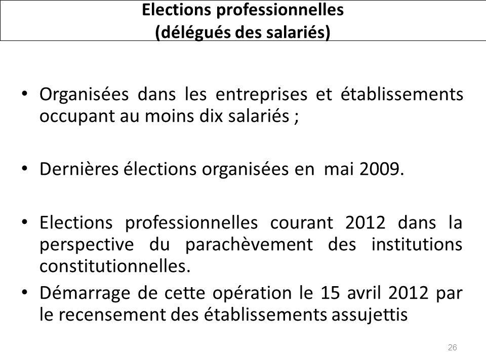 Elections professionnelles (délégués des salariés) Organisées dans les entreprises et établissements occupant au moins dix salariés ; Dernières élections organisées en mai 2009.