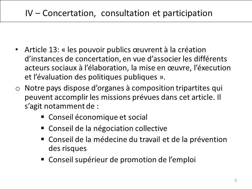IV – Concertation, consultation et participation Article 13: « les pouvoir publics œuvrent à la création dinstances de concertation, en vue dassocier les différents acteurs sociaux à lélaboration, la mise en œuvre, léxecution et lévaluation des politiques publiques ».