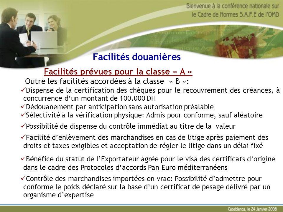 Facilités prévues pour la classe « A » Outre les facilités accordées à la classe « B »: Dispense de la certification des chèques pour le recouvrement