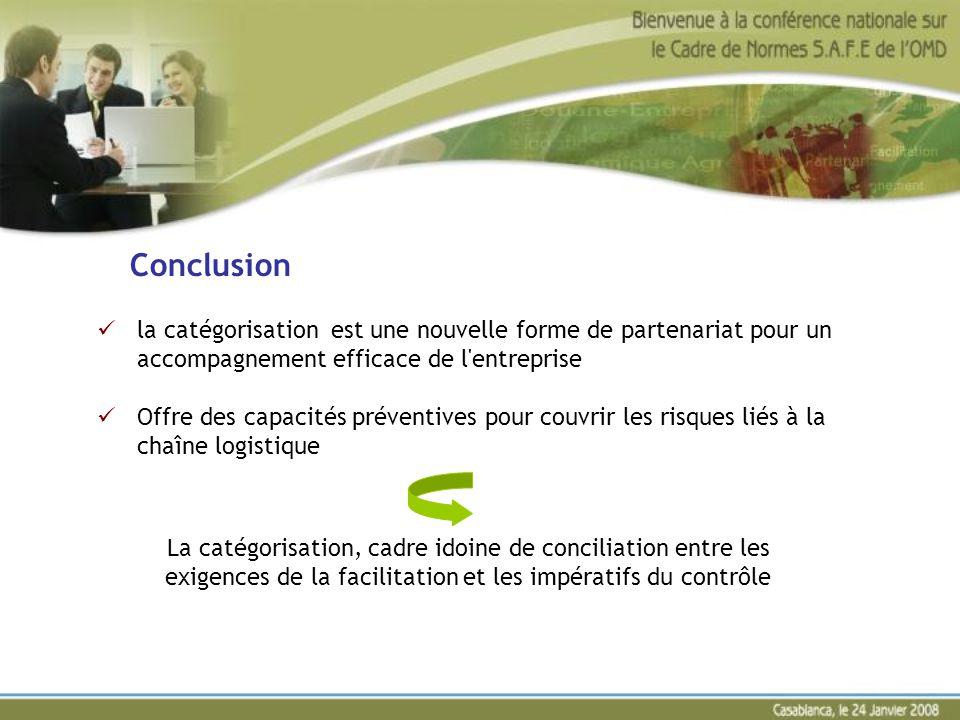 Conclusion la catégorisation est une nouvelle forme de partenariat pour un accompagnement efficace de l'entreprise Offre des capacités préventives pou
