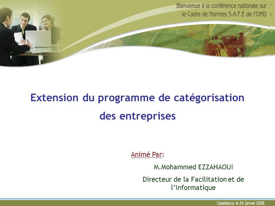 Extension du programme de catégorisation des entreprises Animé Par: M.Mohammed EZZAHAOUI Directeur de la Facilitation et de lInformatique