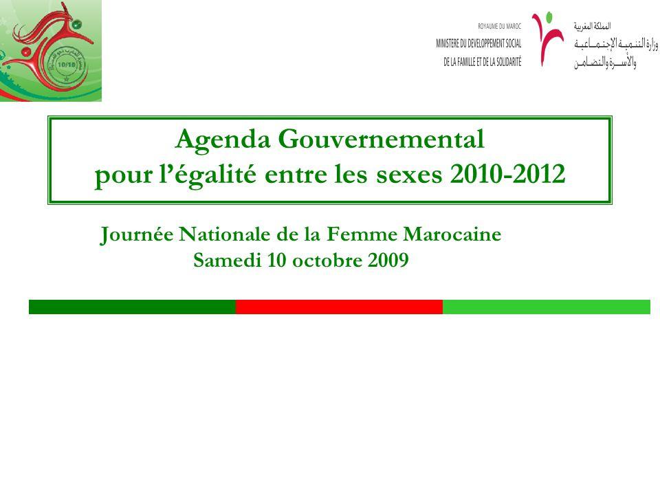 Agenda Gouvernemental pour légalité entre les sexes 2010-2012 Journée Nationale de la Femme Marocaine Samedi 10 octobre 2009