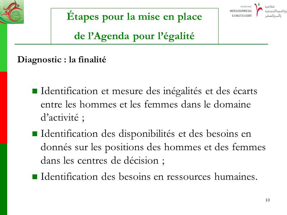 10 Diagnostic : la finalité Identification et mesure des inégalités et des écarts entre les hommes et les femmes dans le domaine dactivité ; Identific