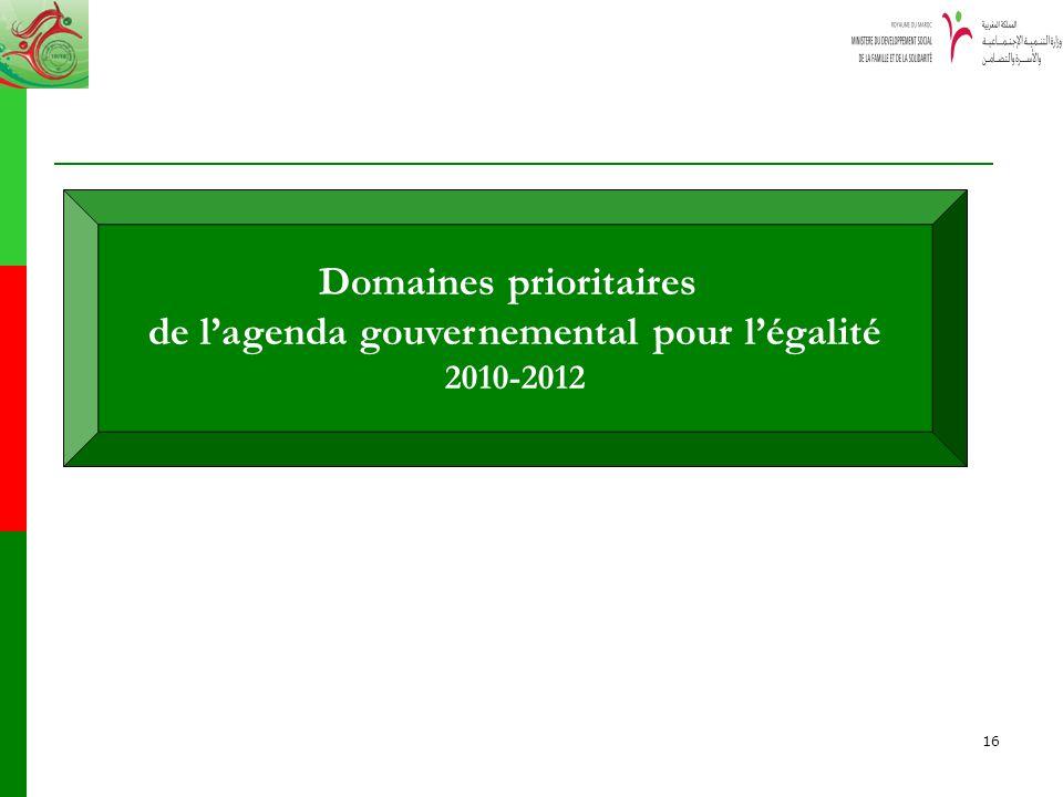 16 Domaines prioritaires de lagenda gouvernemental pour légalité 2010-2012