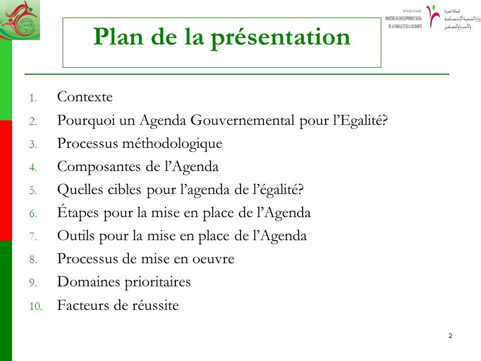 2 Plan de la présentation 1. Contexte 2. Pourquoi un Agenda Gouvernemental pour lEgalité? 3. Processus méthodologique 4. Composantes de lAgenda 5. Que