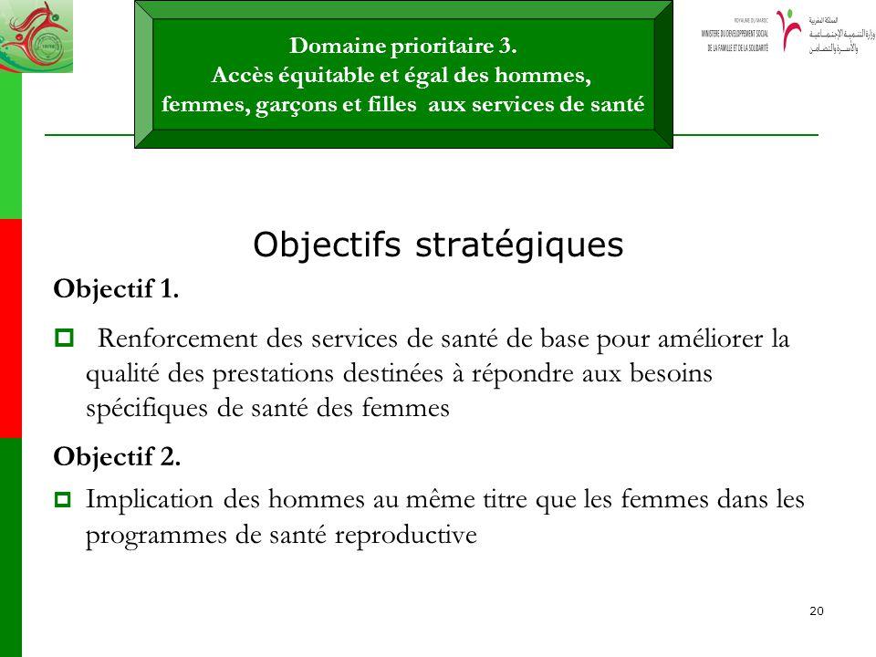 20 Objectifs stratégiques Objectif 1. Renforcement des services de santé de base pour améliorer la qualité des prestations destinées à répondre aux be