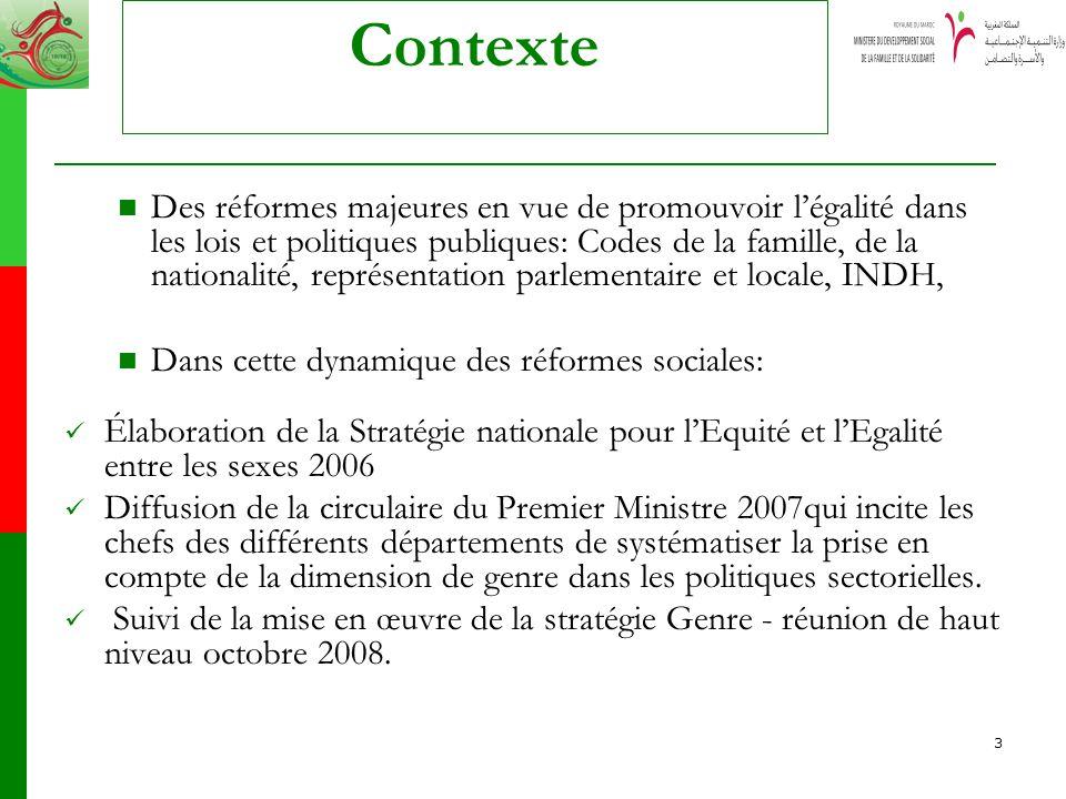 3 Contexte Des réformes majeures en vue de promouvoir légalité dans les lois et politiques publiques: Codes de la famille, de la nationalité, représen