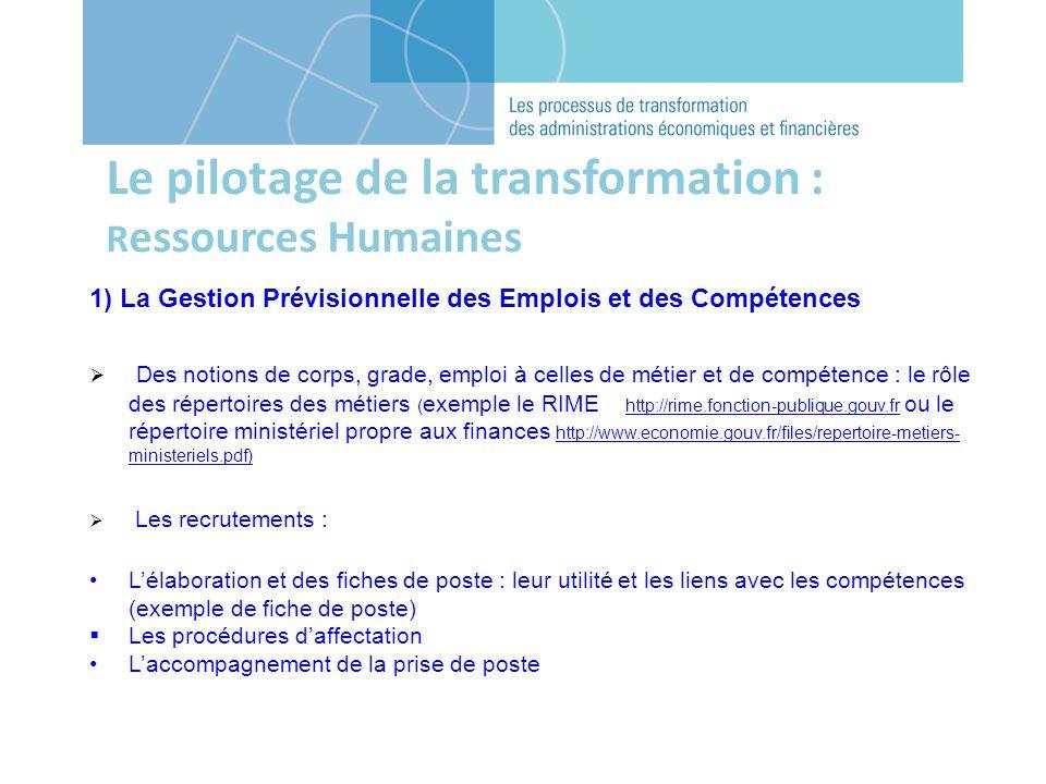 Le pilotage de la transformation : R essources Humaines 1) La Gestion Prévisionnelle des Emplois et des Compétences Des notions de corps, grade, emplo