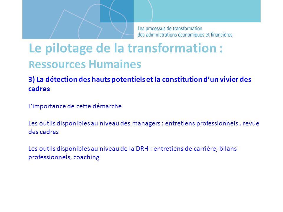 Le pilotage de la transformation : R essources Humaines 3) La détection des hauts potentiels et la constitution dun vivier des cadres Limportance de c