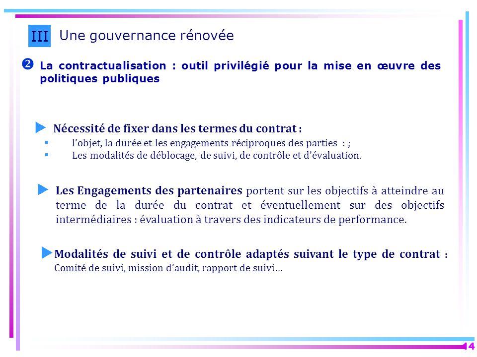 14 La contractualisation : outil privilégié pour la mise en œuvre des politiques publiques III Une gouvernance rénovée Nécessité de fixer dans les ter