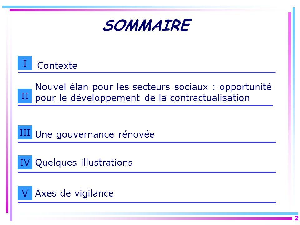 2 2 SOMMAIRE I II III Contexte Nouvel élan pour les secteurs sociaux : opportunité pour le développement de la contractualisation IV Quelques illustra