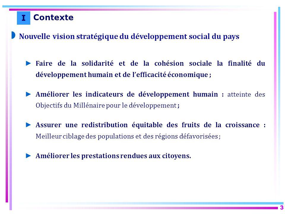 3 Nouvelle vision stratégique du développement social du pays Faire de la solidarité et de la cohésion sociale la finalité du développement humain et