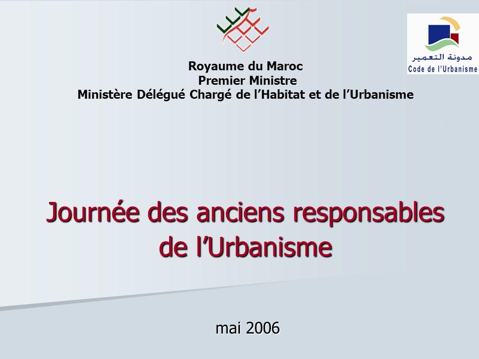 Royaume du Maroc Premier Ministre Ministère Délégué Chargé de lHabitat et de lUrbanisme Journée des anciens responsables de lUrbanisme mai 2006
