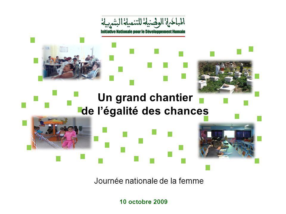 Un grand chantier de légalité des chances 10 octobre 2009 Journée nationale de la femme
