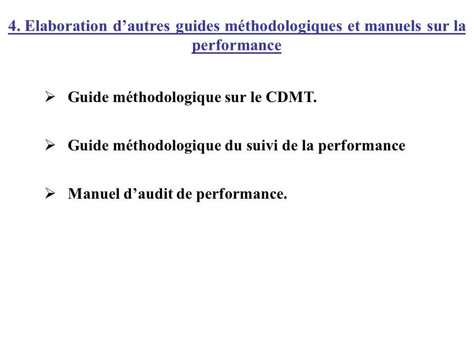 Guide méthodologique sur le CDMT. Guide méthodologique du suivi de la performance Manuel daudit de performance. 4. Elaboration dautres guides méthodol