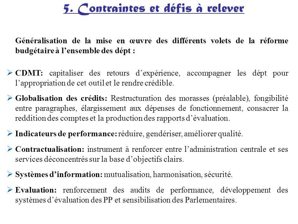 Généralisation de la mise en œuvre des différents volets de la réforme budgétaire à lensemble des dépt : CDMT: capitaliser des retours dexpérience, ac
