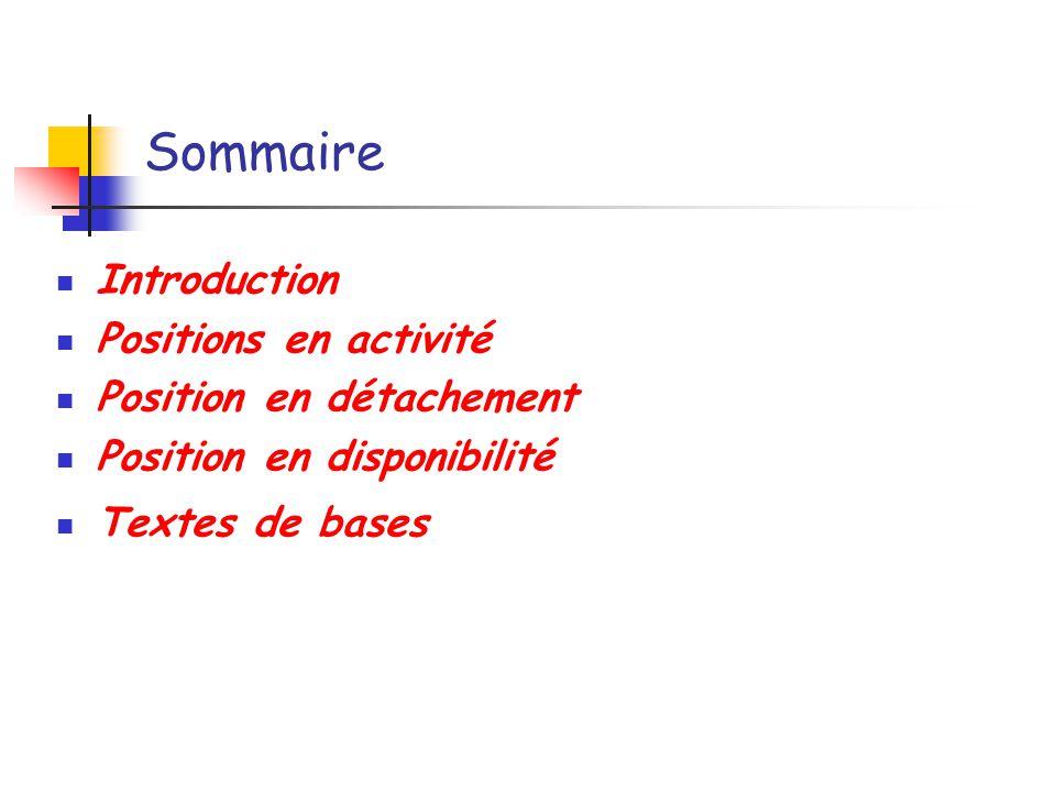 Sommaire Introduction Positions en activité Position en détachement Position en disponibilité Textes de bases