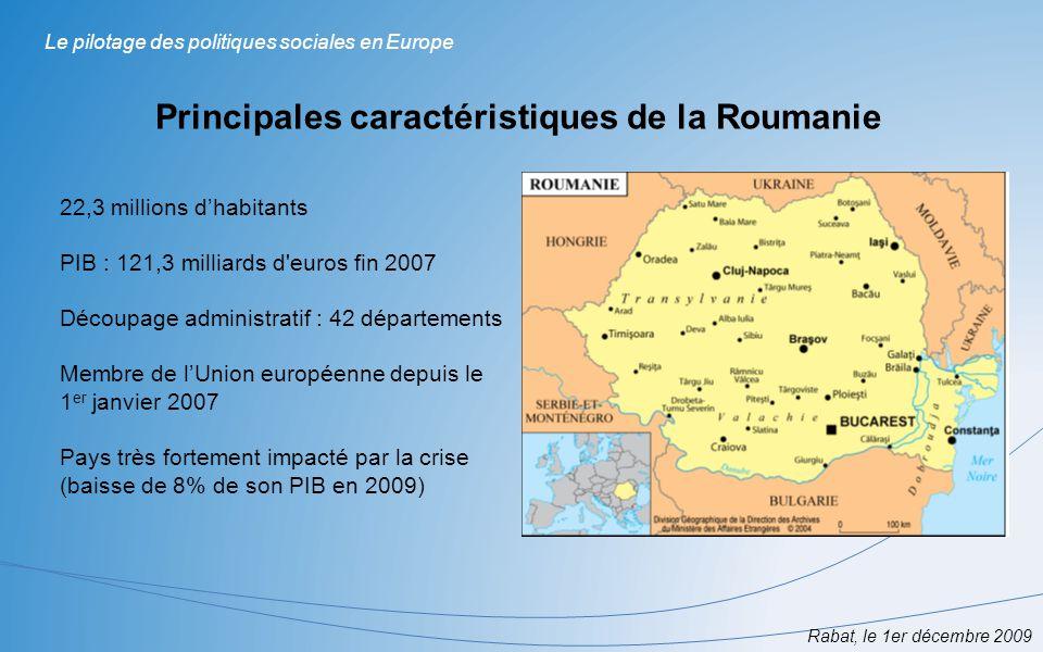 Rabat, le 1er décembre 2009 Le pilotage des politiques sociales en Europe Principales caractéristiques de la Roumanie 22,3 millions dhabitants PIB : 1
