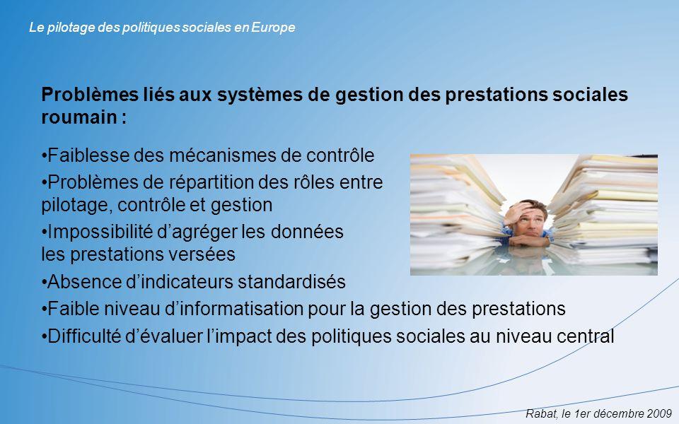 Rabat, le 1er décembre 2009 Le pilotage des politiques sociales en Europe Problèmes liés aux systèmes de gestion des prestations sociales roumain : Fa