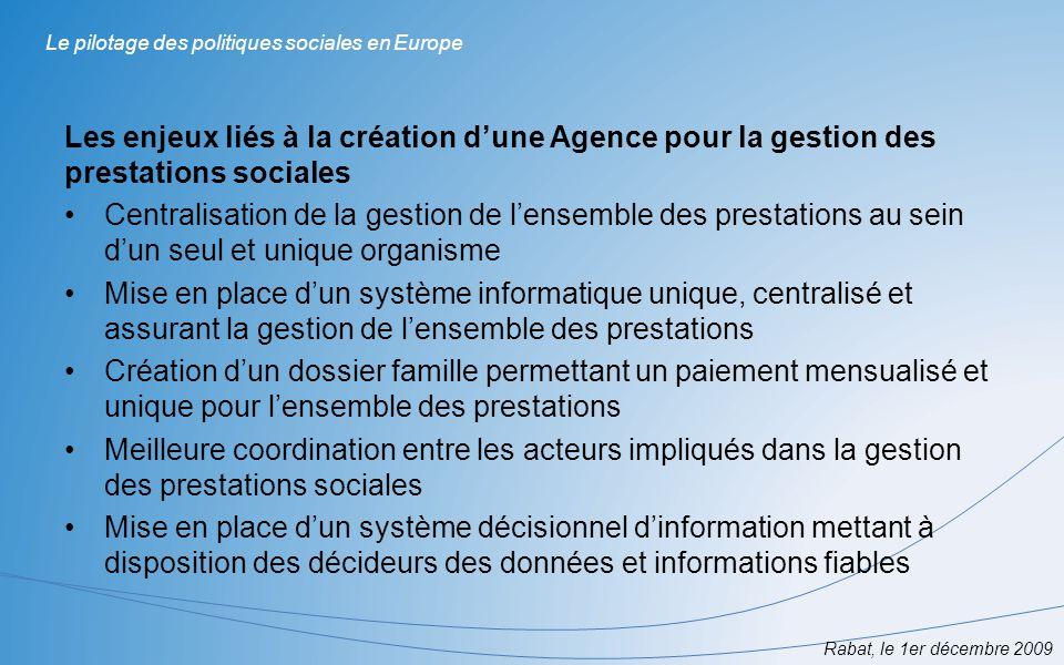 Rabat, le 1er décembre 2009 Le pilotage des politiques sociales en Europe Les enjeux liés à la création dune Agence pour la gestion des prestations so