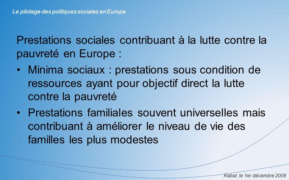 Prestations sociales contribuant à la lutte contre la pauvreté en Europe : Minima sociaux : prestations sous condition de ressources ayant pour object