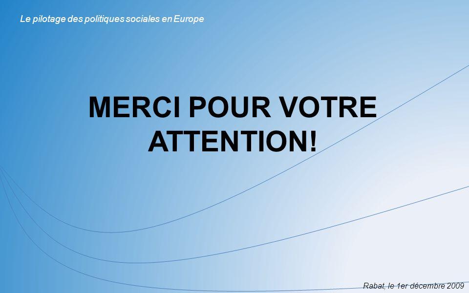 MERCI POUR VOTRE ATTENTION! Rabat, le 1er décembre 2009 Le pilotage des politiques sociales en Europe